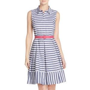 Eliza J Stripe Fit & Flare Shirtdress ~ A167